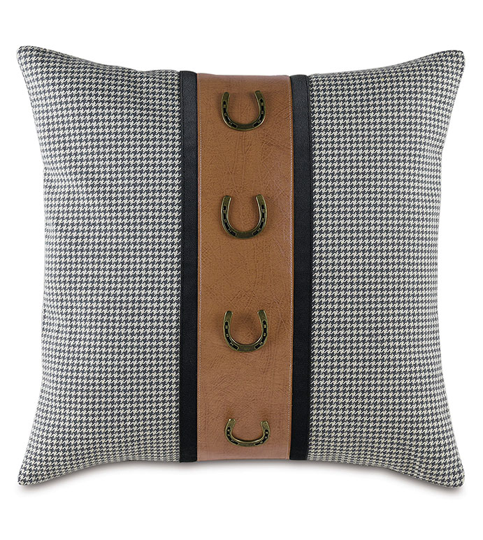 Johnstown Houndstooth Decorative Pillow - ,HOUNDSTOOTH PILLOW,GRAY HOUNDSTOOTH,CHARCOAL HOUNDSTOOTH,TRADITIONAL DECOR,EQUESTRIAN DECOR,EQUESTRIAN PILLOW,GRAY PILLOW,BUCKLE PILLOW,HORSE RACING,RUSTIC HOME,LODGE PILLOW,L