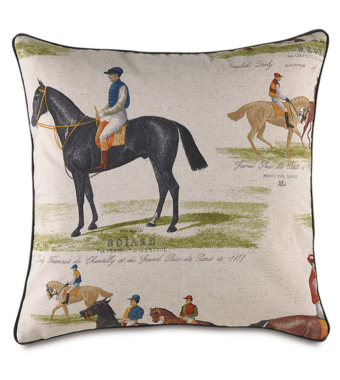 Chantilly Derby Decorative Pillow - ,FRENCH DERBY,DERBY DECOR,EQUESTRIAN PILLOW,EQUESTRIAN DECOR,HORSE RACING,HORSE RACING DECOR,HORSE PILLOW,BOUTIQUE PILLOW,DERBY PRINT,HORSE RACING PRINT,TRADITIONAL HOME,