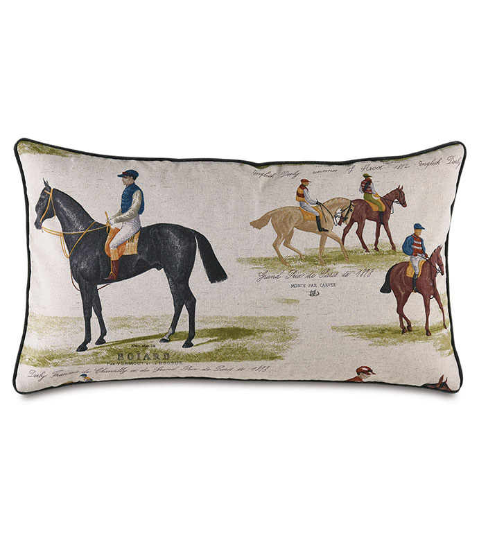 Chantilly Derby Decorative Pillow - ,,FRENCH DERBY,DERBY DECOR,EQUESTRIAN PILLOW,EQUESTRIAN DECOR,HORSE RACING,HORSE RACING DECOR,HORSE PILLOW,BOUTIQUE PILLOW,DERBY PRINT,HORSE RACING PRINT,TRADITIONAL HOME,