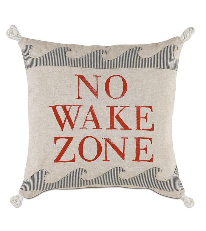 Wave Blockprinted Decorative Pillow - ,NO WAKE ZONE,WAVE PILLOW,COASTAL PILLOW,COASTAL DECOR,NAUTICAL DECOR,BOAT DECOR,BOAT PILLOW,BEACH HOUSE PILLOW,BEACH HOUSE,MARITIME PILLOW,MARITIME DECOR,BLOCKPRINTING,