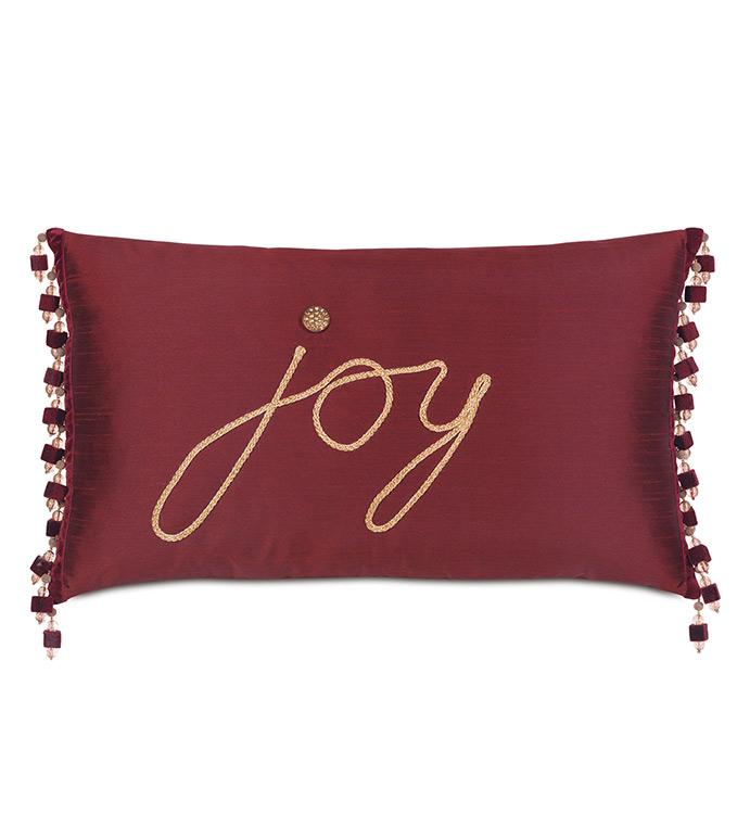 Noel Joy Decorative Pillow - ,FAUX SILK PILLOW,BURGUNDY PILLOW,TAFFETA PILLOW,BURGUNDY BEDDING,CHRISTMAS PILLOW,CHRISTMAS DECOR,HOLIDAY DECOR,FESTIVE PILLOW,FESTIVE DECOR,