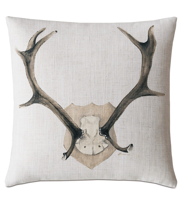 Lodge Handpainted Decorative Pillow - ,ANTLERS PILLOW,DEER ANTLERS,ANTLERS PLAQUE,HUNTING DECOR,DEER PILLOW,DEER ANTLERS,LODGE PILLOW,HANDPAINTING,ANTLERS DECOR,DEER PILLOW,LODGE DECOR,MOUNTAIN DECOR,