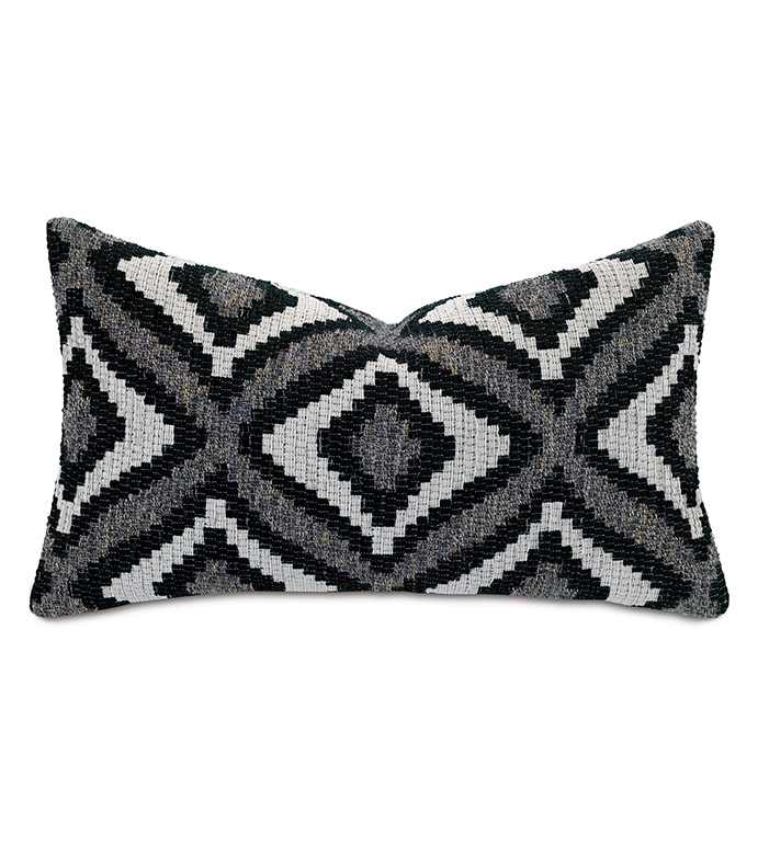 Monterosa Woven Decorative Pillow in Black - ,15X26 PILLOW,RECTANGLE PILLOW,LONG PILLOW,IKAT PILLOW,GEOMETRIC PATTERN,BLACK PILLOW,GRAY PILLOW,LUXURY PILLOW,LODGE DECOR,MONOCHROME PILLOW,WOVEN PILLOW,SOUTHWEST DECOR,