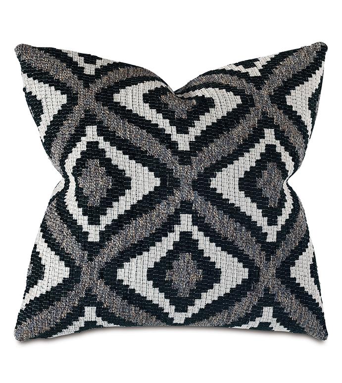 Monterosa Woven Decorative Pillow in Black - ,22X22 PILLOW,BLACK PILLOW,GEOMETRIC PILLOW,WOVEN PILLOW,LUXURY PILLOW,GRAY PILLOW,MONOCHROME PILLOW,GEOMETRIC PATTERN,SOUTHWEST DECOR,MOUNTAIN LODGE PILLOW,BLACK BEDDING,