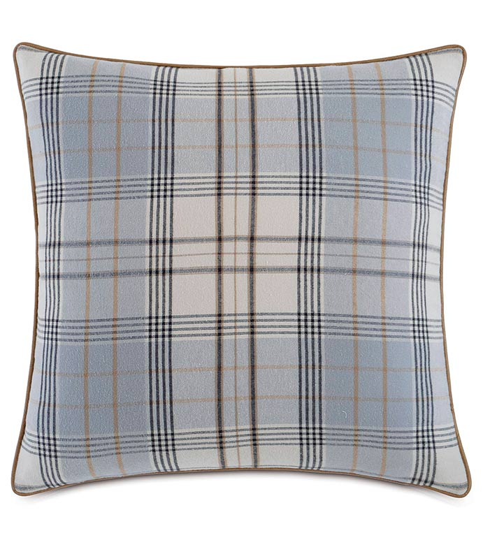 Magnus Steel With Sm Welt - BLUE FLANNEL PILLOW,BLUE AND GREY FLANNEL,BLUE PLAID PILLOW,BLUE AND GREY PLAID,OVERSIZED PLAID PILLOW,MENS ROOM BEDDING,MASCULINE PILLOW,BLUE AND TAN,CLASSIC PLAID PILLOW,GRAY