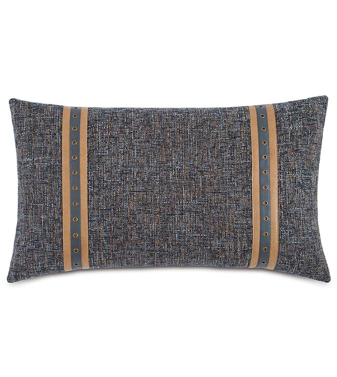 Rosenthal Dusk With Vertical Trims - GREY AND NAVY PILLOW,MASCULINE,TRADITIONAL,CLASSIC,SADDLE LEATHER,EQUESTRIAN STYLE PILLOW,GROMMET,PILLOW WITH GROMMET,NAVY,BLUE,MENS ROOM PILLOW,STRIPED MASCULINE PILLOW,LEATHER