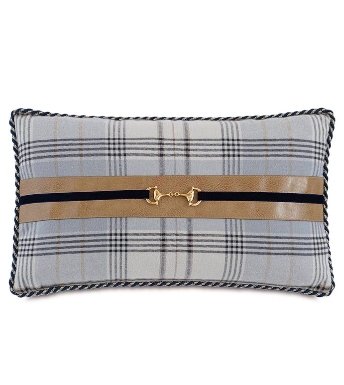 Magnus Steel With Buckle - BLUE PLAID PILLOW,BLUE FLANNEL PILLOW,BLUE AND BLACK PLAID,SADDLE LEATHER,LEATHER ACCENT,GOLD BUCKLE,TRADITIONAL,CLASSIC,MASCULINE,HANDSOME,BLUE AND GRAY,MENS DECORATIVE PILLOW