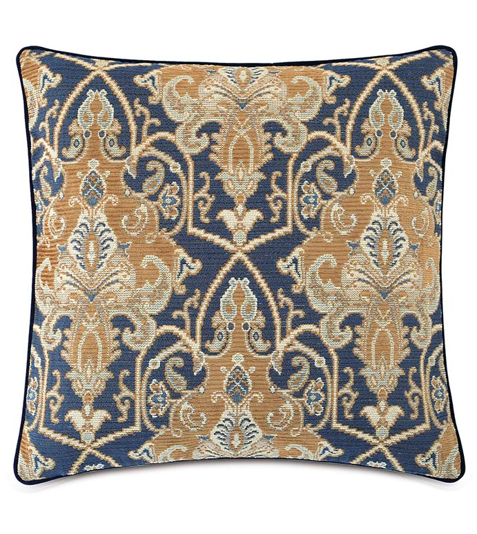 Arthur Ochre With Small Welt - NAVY PAISLEY PILLOW,MASCULINE,TRADITIONAL,NAVY AND TAN,WOVEN PAISLEY PILLOW,TRADITIONAL PAISLEY PILLOW,GOLD PAISLEY PILLOW,BLUE AND GOLD,WOVEN FABRIC,OXFORD STYLE BEDDING,WELT EDGE