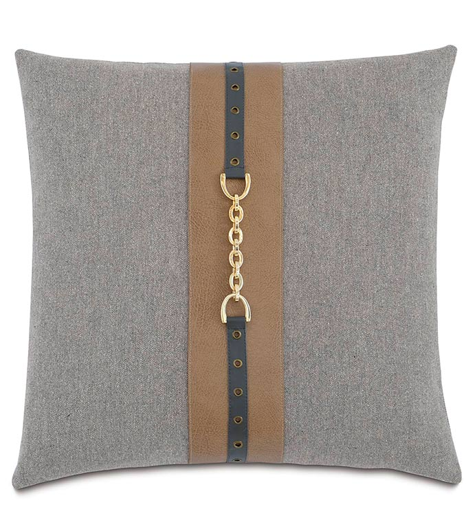 Brigid Stone With Insert - GOLD BUCKLE PILLOW,PILLOW WITH GROMMETS,GROMMET DETAIL,ANTIQUE BRASS,BRUSHED GOLD,GREY AND TAN,MASCULINE BEDDING,EQUESTRIAN PILLOW,SADDLE LEATHER,HANDSOME,MENS ROOM BEDDING