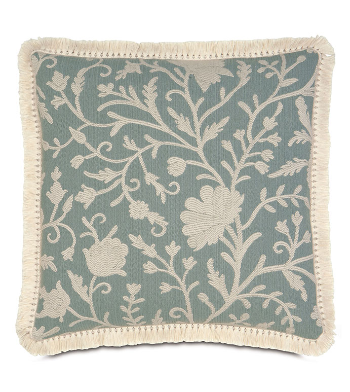 Avila With Tassel Fringe - FLORAL DESIGN PILLOW,BLUE FLORAL,WOVEN FLORAL,COASTAL PILLOW,LAKE HOUSE PILLOW,BEACH BEDROOM,TURQUOISE,NATURAL,CONTEMPORARY,TRANSITIONAL,CREAM,IVORY,BLUE,SHABBY CHIC PILLOW,FRINGE