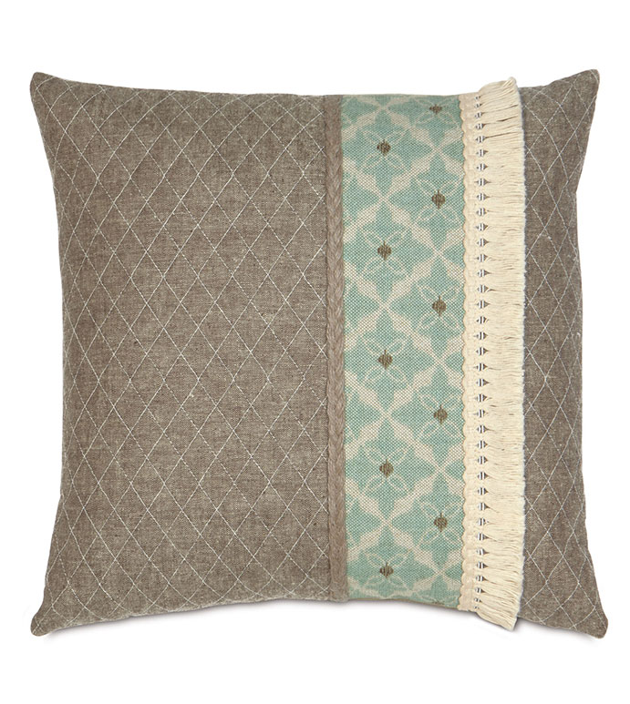Arlo Ice Insert - BOMEHIAN DECORATIVE PILLOW,TEXTURED,BLUE AND BROWN,BROWN AND GREEN,SHABBY CHIC PILLOW,COASTAL,LAKE HOUSE,BEACH HOUSE,EARTH TONE,NEUTRAL,FRINGE TRIM PILLOW,CONTRAST FABRIC PILLOW