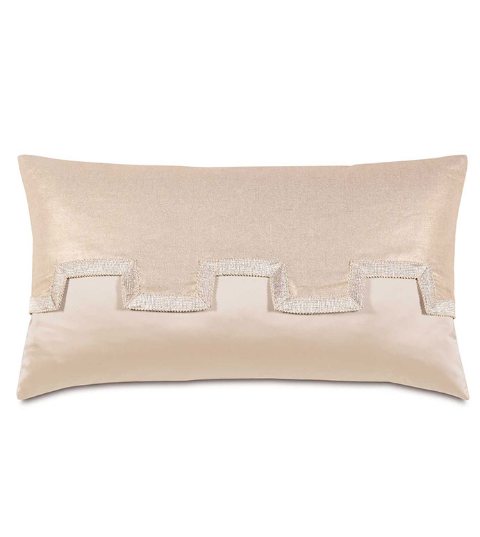 Marilyn Chamois With Reflection Flap - GLAM,SHINY,PATTERN,TAN,GLAMOUR,METALLIC,TRIM,ELEGANT,OPULENT,FEMININE,GOLD,LUXURY,CHAMPAGNE,PILLOW,DECORATIVE,HOME DECOR,BEIGE,LUXURY BEDDING,CORD,CUTOUT,ACCENT,BED,DESIGN,MODERN