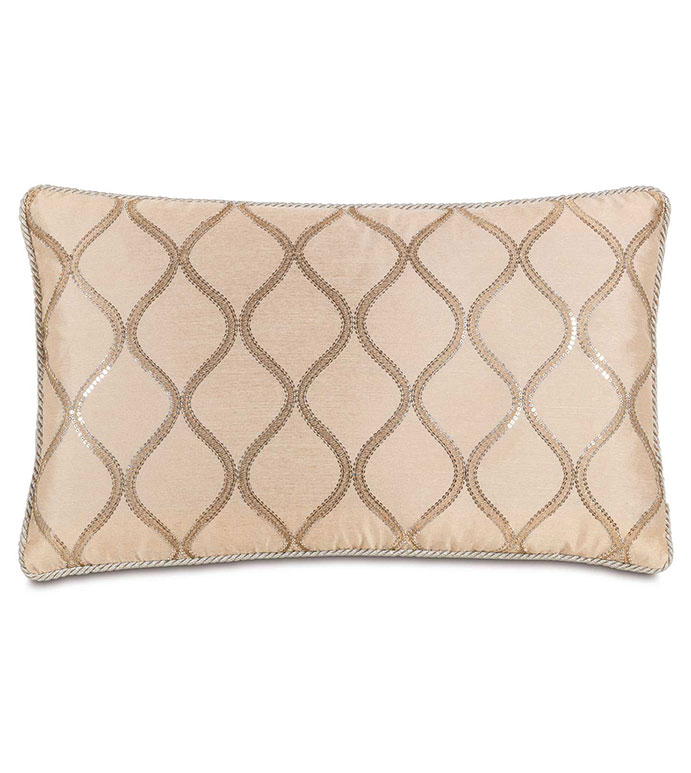 Bardot Bisque With Cord - GLAM,SEQUIN,SHINY,PATTERN,PINK,TAN,GLAMOUR,METALLIC,SILVER,CONTEMPORARY,ELEGANT,OPULENT,FEMININE,GOLD,LUXURY,CHAMPAGNE,PILLOW,DECORATIVE,HOME DECOR,BEIGE,LUXURY BEDDING,CORD,ACCENT