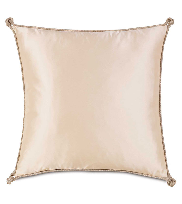 Marilyn Chamois With Turkish Knots - GLAM,SHINY,TAN,GLAMOUR,METALLIC,ELEGANT,OPULENT,FEMININE,GOLD,LUXURY,CHAMPAGNE,PILLOW,DECORATIVE,HOME DECOR,BEIGE,LUXURY BEDDING,CORD,SQUARE,KNOT,SILKY,ACCENT,TURKISH KNOT,DESIGN