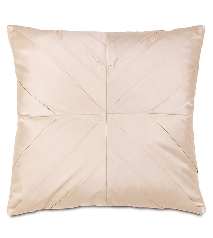 Marilyn Chamois With Pleats - GLAM,SHINY,TAN,GLAMOUR,METALLIC,ELEGANT,OPULENT,FEMININE,GOLD,LUXURY,CHAMPAGNE,PILLOW,DECORATIVE,HOME DECOR,BEIGE,LUXURY BEDDING,SQUARE,ACCENT,DESIGN,MITER,TRIM,TEXTURE,PLEATED