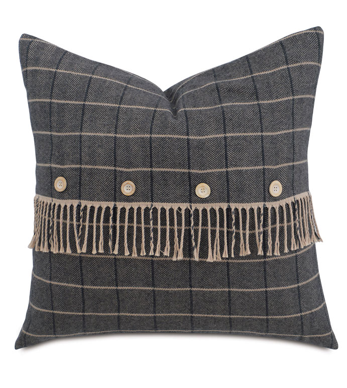 Plaid With Fringe And Buttons