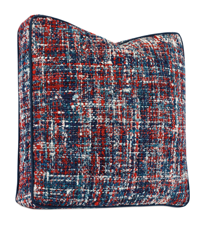 Newport Textured Boxed Pillow - ACCENT PILLOW,THROW PILLOW,ACCENT PILLOW,BARCLAY BUTERA BY EASTERN ACCENTS,MULTICOLORED,COASTAL,TEXTURED,CHECKERED,WELT,TRELLIS,
