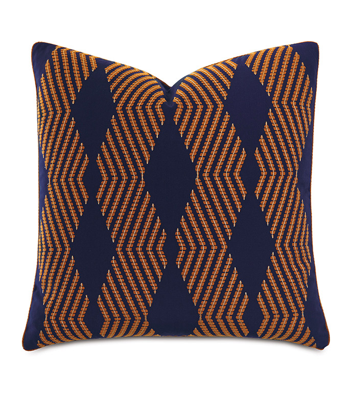 Ladue Geometric Accent Pillow In Indigo - ACCENT PILLOW,THROW PILLOW,ACCENT PILLOW,BARCLAY BUTERA BY EASTERN ACCENTS,INDIGO,TRADITIONAL,EMBROIDERED,GEOMETRIC,CORD,
