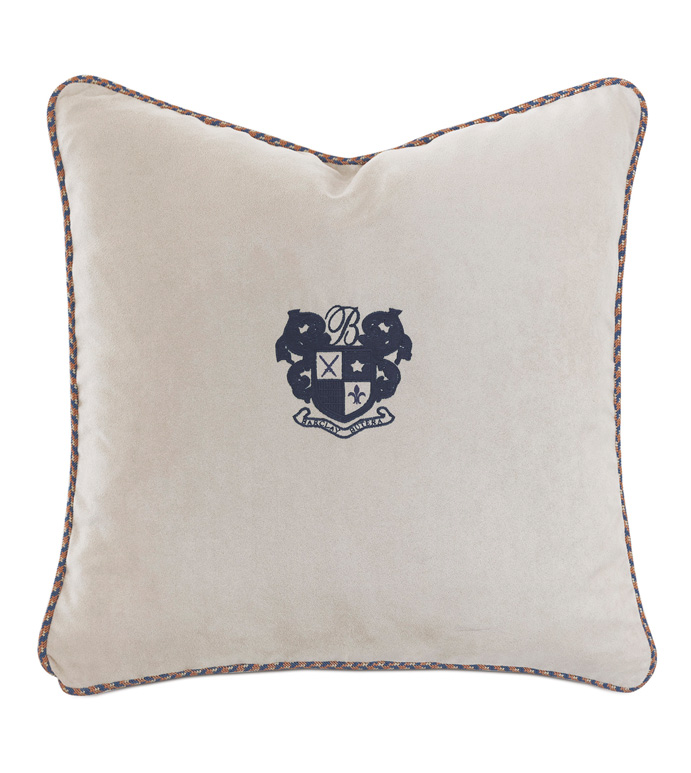 Ladue Faux Suede Accent Pillow In Taupe - ACCENT PILLOW,THROW PILLOW,ACCENT PILLOW,BARCLAY BUTERA BY EASTERN ACCENTS,TAUPE,TRADITIONAL,VELVET,SOLID,EMBROIDERED MONOGRAM,