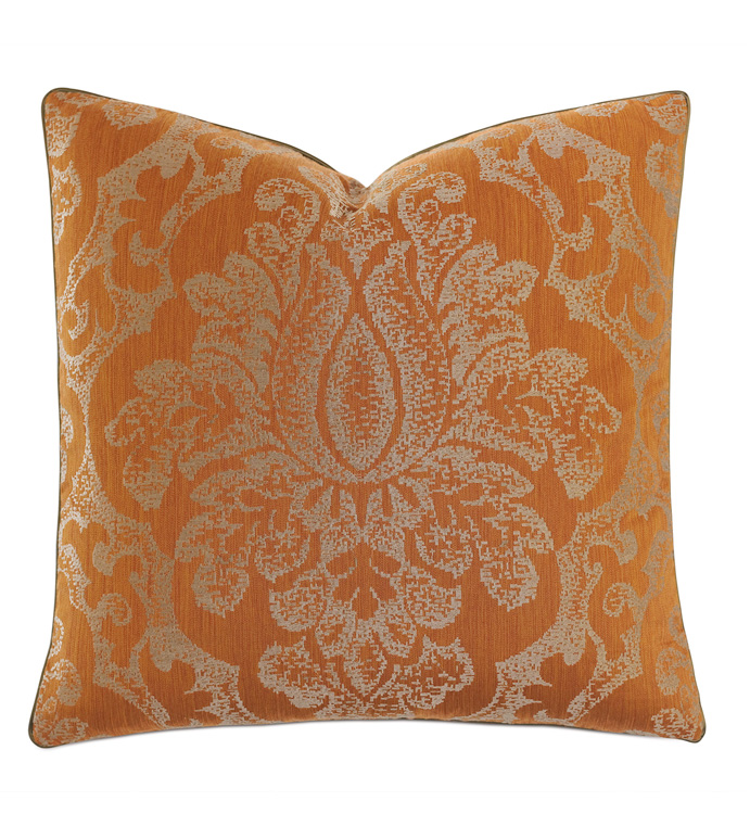 Ladue Damask Accent Pillow In Orange - ACCENT PILLOW,THROW PILLOW,ACCENT PILLOW,BARCLAY BUTERA BY EASTERN ACCENTS,ORANGE,TRADITIONAL,EMBROIDERED,DAMASK,WELT,