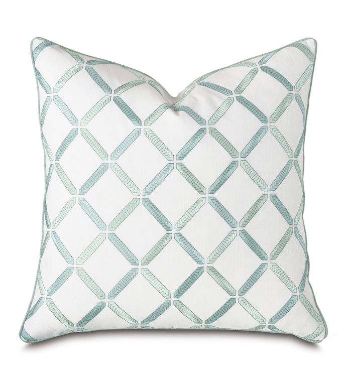 Brentwood Embroidered Decorative Pillow - BARCLAY BUTERA,EMBROIDERED,TRELLIS,LATTICE,SQUARE,22X22,DECORATIVE PILLOW,THROW PILLOW,ACCENT PILLOW,PILLOW,LUXURY BEDDING,BEDDING,DESIGNER,BLUE,SPA,TEAL