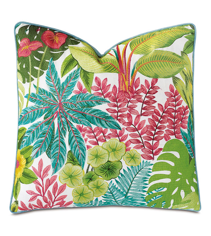 St Barths Embroidered Decorative Pillow - ,22X22 PILLOW, TROPICAL EMBROIDERY,EMBROIDERED PILLOW,GREEN PILLOW,TROPICAL PILLOW,TROPICAL BEDDING,BOTANICAL EMBROIDERY,LUXURY PILLOW,TROPICAL DECOR,COLORFUL EMBROIDERY,