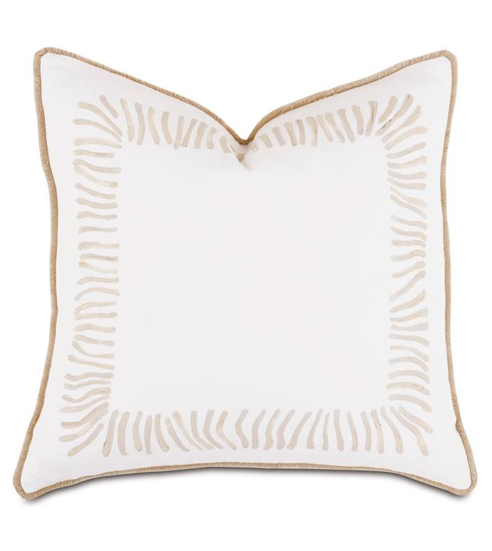 Brentwood Handpainted Decorative Pillow - BARCLAY BUTERA,HANDPAINTED,NEUTRAL,BORDER,PILLOW,STRIPE,ZEBRA,ANIMAL PRINT,DECORATIVE PILLOW,ACCENT PILLOW,THROW PILLOW,INTERIOR DESIGNER,18X18,SQUARE