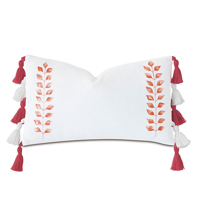 St Barths Handpainted Decorative Pillow - ,100% LINEN PILLOW,LINEN BEDDING,WHITE PILLOW,LINEN BOLSTER,HAND PAINTED BOLSTER,HAND PAINTED PILLOW,TROPICAL PILLOW,TASSELS,TASSEL TRIM,TASSEL PILLOW,LINEN THROW PILLOW,