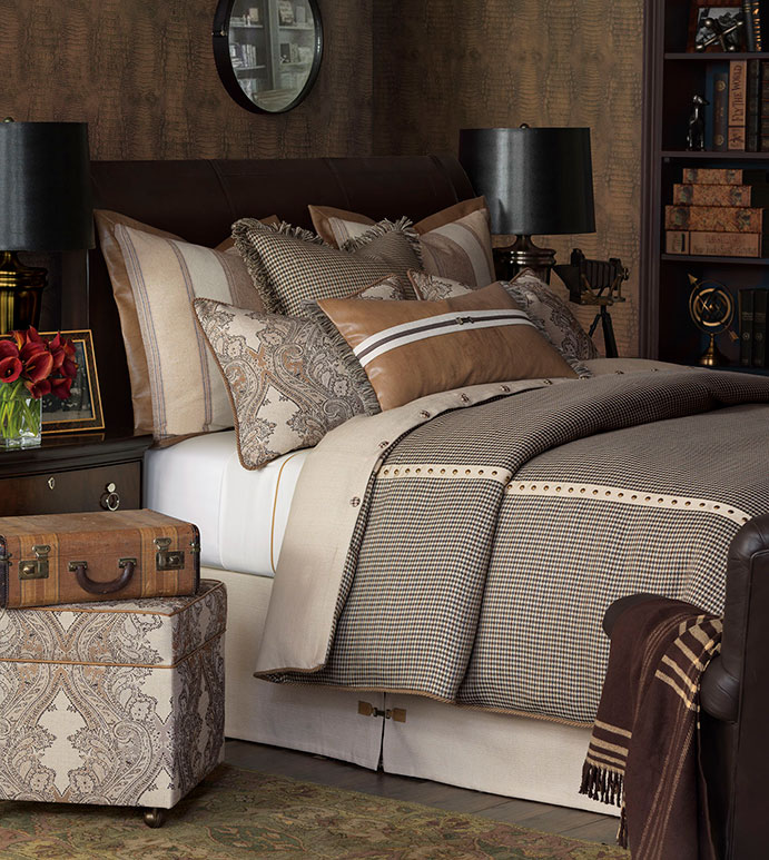 Aiden Bedset - LODGE BEDSET,COUNTRY BEDSET,MOUNTAIN HOME BEDSET,SOUTHWEST,NORTHWEST,RUSTIC BEDSET,SADDLE LEATHER,TRADITIONAL,LODGE HOME BEDDING,PAISLEY,FLANNEL,PLAID,NAILEAD,ANTIQUE BRASS,TAN