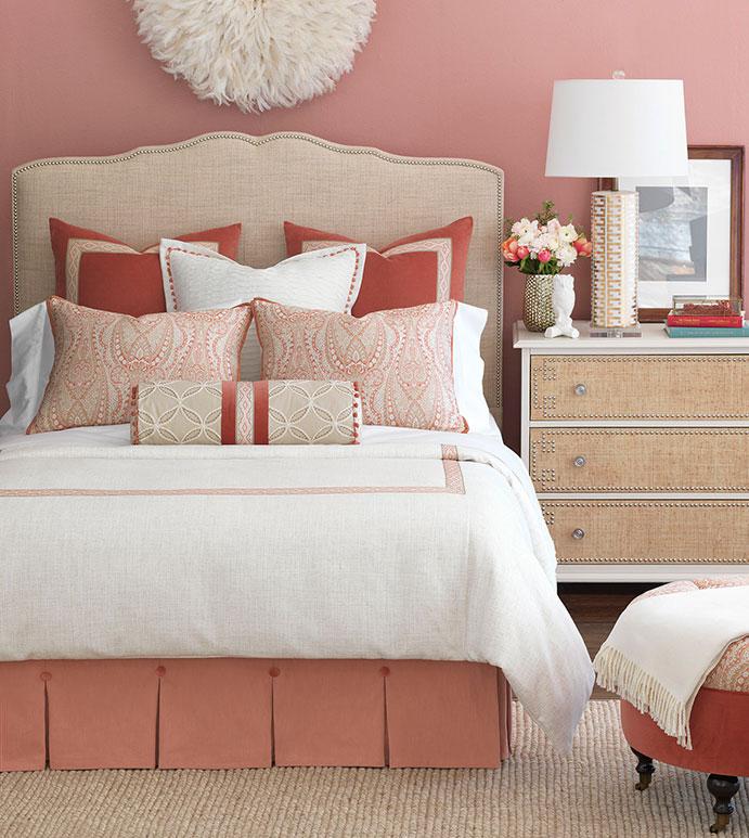 Rena Bedset - bedding,top of bed,luxury linens,coral bedding,bedset,custom bedding,duvet set,elegant bedding,linen bedding,femine bedding,high end bedding,luxury bedding,Eastern Accents bedding