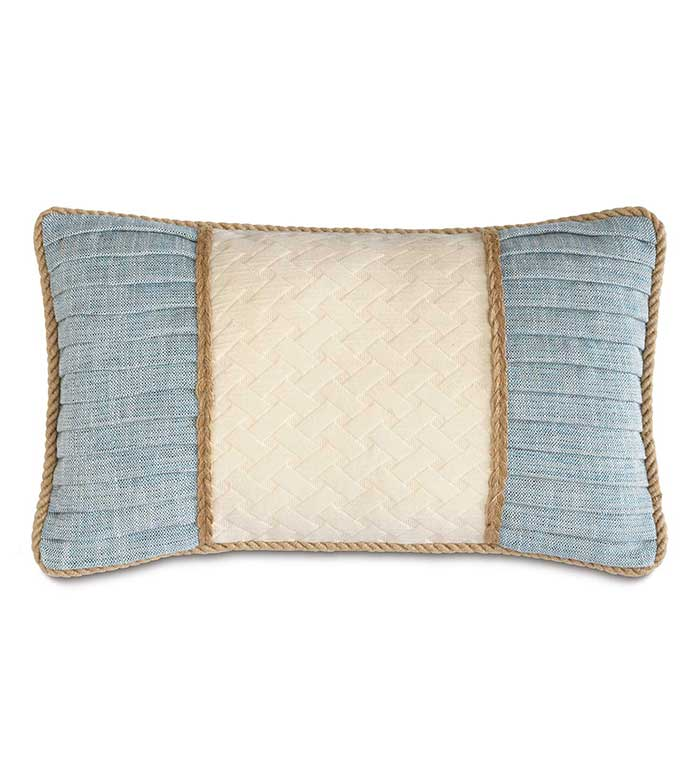 Briseyda Shell Insert - BLUE RUCHED PILLOW,RUCHED TROPICAL PILLOW,CONTRAST FABRIC,BLUE AND WHITE,BLUE AND IVORY,HEMP CORD,MACRAME,CASUAL COASTAL,CONTEMPORARY TROPICAL,FEMININE,PLEATED PILLOW,