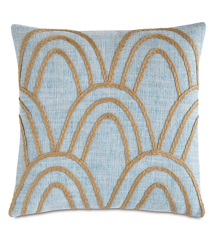 Draper Lake With Gimp - BLUE AND TAN,TEXTURED TROPICAL PILLOW,MACRAME PILLOW,GRAPHIC DESIGN,WOVEN NATURAL,BRAIDED TRIM,FEMININE TROPICAL,CASUAL COASTAL,LAKE HOUSE PILLOW,BEACH HOUSE PILLOW,NATURAL