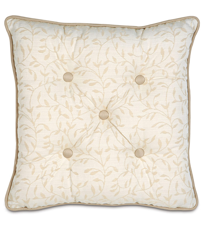 Hayes Blossom Tufted - BUTTON TUFTED IVORY PILLOW,BUTTON TUFTED VICTORIAN PILLOW,DEEP TUFTED PILLOW,TAN AND WHITE,CREAM,BEIGE IVORY,SOUTHERN CLASSIC PILLOW,TRADITIONAL,ELEGANT,TUFTED SQAURE,BOTANICAL
