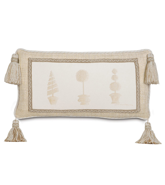 Hand-Painted Brookfield Topiary - HAND PAINTED BOTANICAL PILLOW,HAND PAINTED FLOWER PILLOW,ENGLISH GARDEN PILLOW,NEUTRAL VICTORIAN PILLOW,TAN AND IVORY,TASSEL CORNER,NEUTRAL TRADITIONAL PILLOW,ELEGANT IVORY,OBLONG