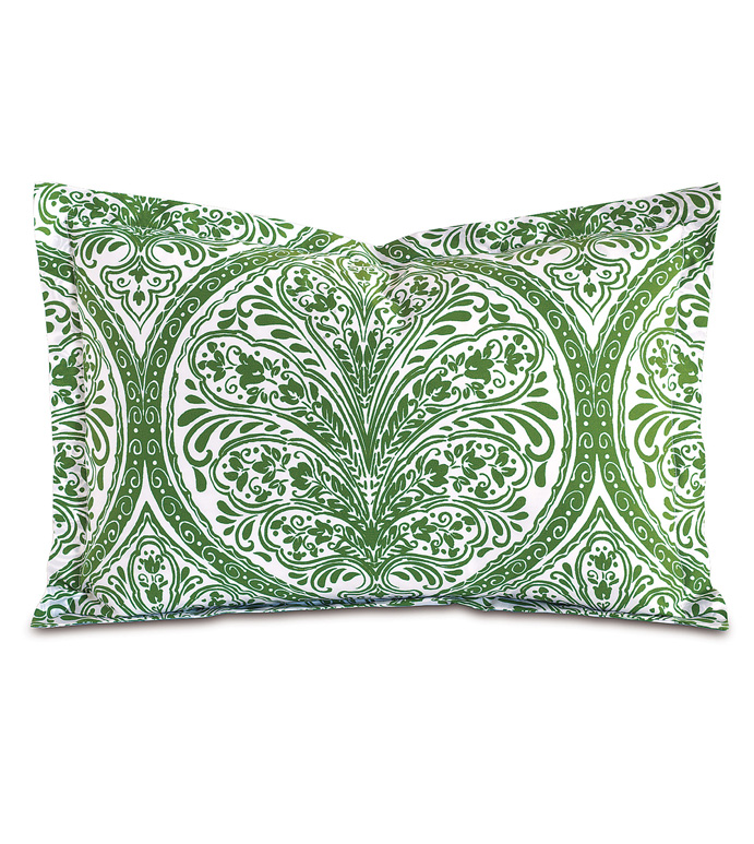 Adelle Percale Boudoir In Grass - PERCALE,DECORATIVE PILLOW,PILLOW,ACCENT PILLOW,THROW PILLOW,BED PILLOW,SOFA PILLOW,MEDALLION,DAMASK,JACQUARD,PRINT,PATTERN,GREEN,BRIGHT,OGEE,VECTOR,LUXURY BEDDING,EASTERN ACCENTS