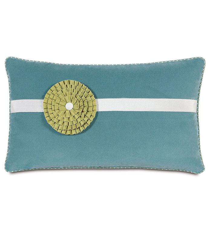 Jackson Ocean Bolster - blue velvet bolster,blue velour,feminine,tween accent pillow,blue and white,casual,contemporary,floral accent pillow,flower power,flower accent pillow,spa blue,lime green