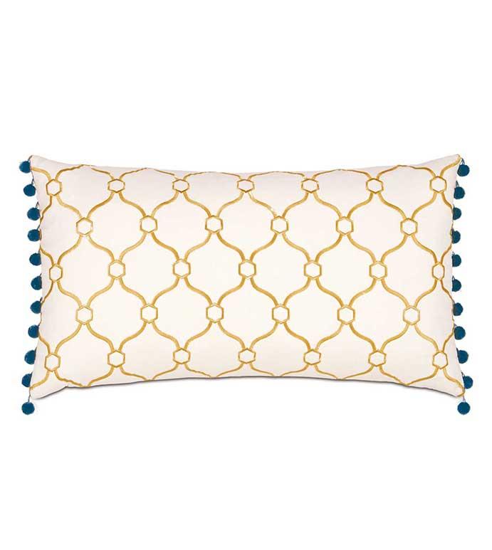 Theodore Honey Bolster - yellow and white pillow,yellow and blue pillow,embroidered yellow pillow,ball trim,pom pom,lattice design,contemporary,transitional,yellow geometric pillow,mustard,gold