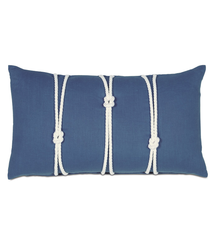 Maritime Bolster In Blue With Knot - ACCENT PILLOW,THROW PILLOW,BOLSTER PILLOW,EASTERN ACCENTS,BLUE,100% LINEN,SOLID,KNIFE EDGE,KNOT,