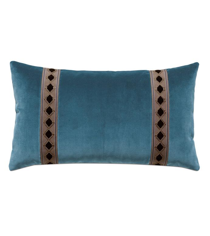 Rudy Velvet Bolster Pillow In Blue - ACCENT PILLOW,THROW PILLOW,BOLSTER PILLOW,EASTERN ACCENTS,BLUE,TRADITIONAL,100% COTTON VELVET,SOLID,BORDER,