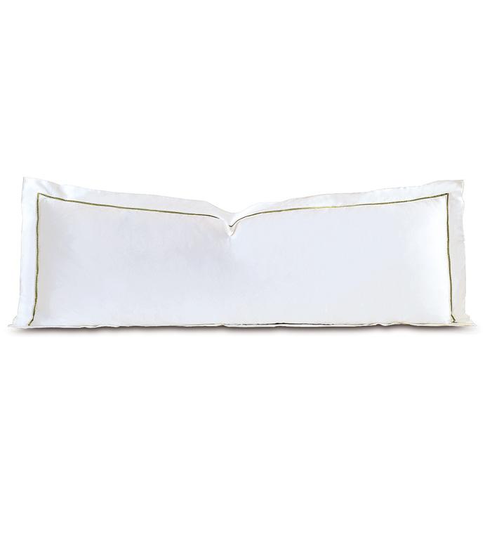 Linea Velvet Ribbon Grand Sham In White & Aloe - ,