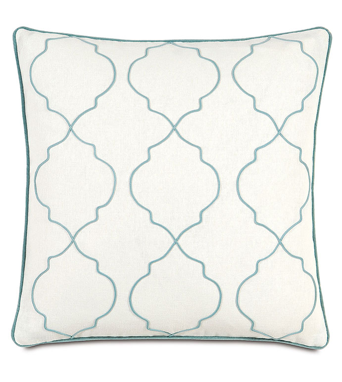 Filly White With Sm Welt - WHITE AND BLUE GRAPHIC PILLOW,WHITE EMBROIDERED PILLOW,WHITE PILLOW WITH BLUE ACCENTS,CASUAL,CONTEMPORARY,FEMININE,NEUTRAL,TRIM ACCENT PILLOW,TWEEN ROOM PILLOW,BRIGHT FEMININE