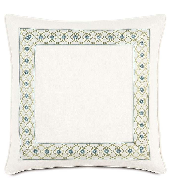 Filly White With Mitered Border - WHITE FLORAL ACCENT PILLOW,WHITE WITH GREEN TRIM,INSET BORDER,FEMININE,CASUAL CONTEMPORARY,WHITE AND GREEN,WHITE AND BLUE,PASTEL,GEOMETRIC,FLORAL,SIMPLE FLORAL BEDDING,LIME GREEN