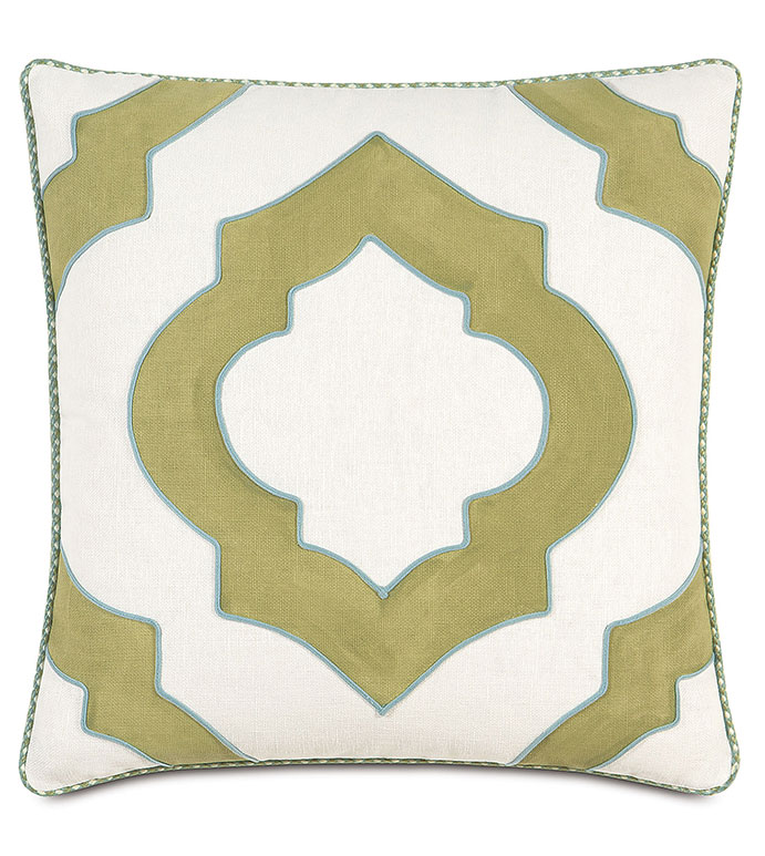 Filly White Hand-Painted - WHITE AND GREEN GRAPHIC PILLOW,CUTOUT PILLOW,WHITE AND GREEN,WHITE AND BLUE,CONTEMPORARY,CASUAL,GREEN FEMININE PILLOW,TEXTURED PILLOW,HAND PAINTED PILLOW,GREEN PAINTED PILLOW