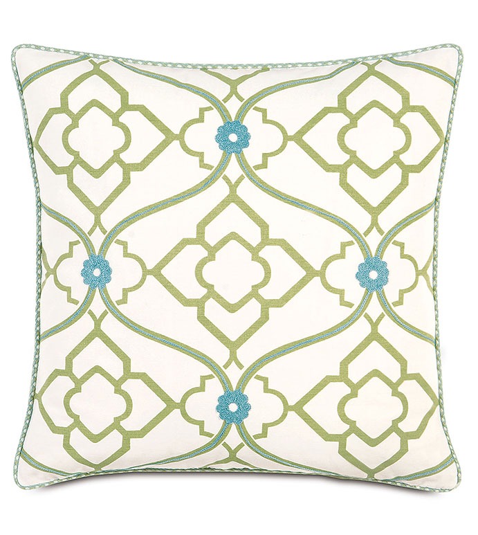 Bradshaw With Cord - GREEN AND BLUE DECORATIVE PILLOW,BRIGHT FEMININE PILLOW,GREEN AND BLUE,EMBROIDERED,GEOMETRIC,FLORAL PATTERN,CONTEMPORARY,FEMININE,LIME GREEN ACCENT PILLOW,COTTON GIRLS PILLOW
