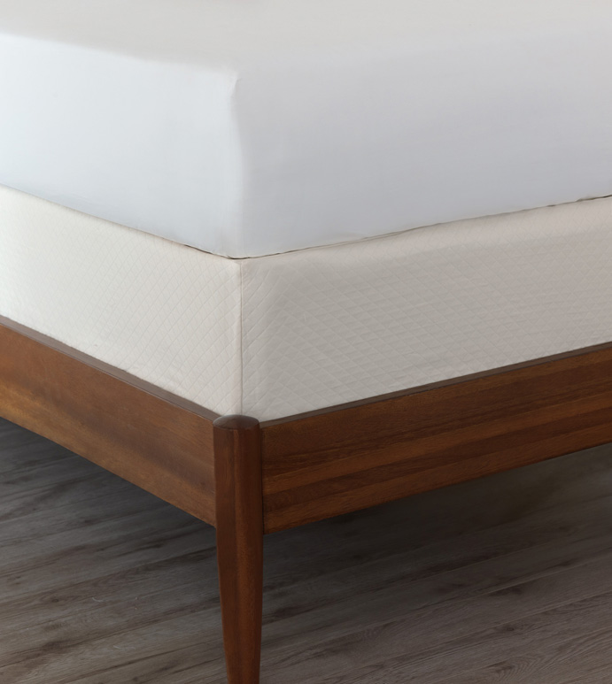 Matera Ivory Box Spring Cover - BOX SPRING COVER,MADE IN USA,WHITE,EGYPTIAN COTTON,100% COTTON,BEDDING,BED SKIRT ALTERNATIVE,ALL AROUND ELASTIC,ELASTIC,AMERICAN-MADE,GUSSET,100% EGYPTIAN COTTON SATEEN,SATEEN,SILK