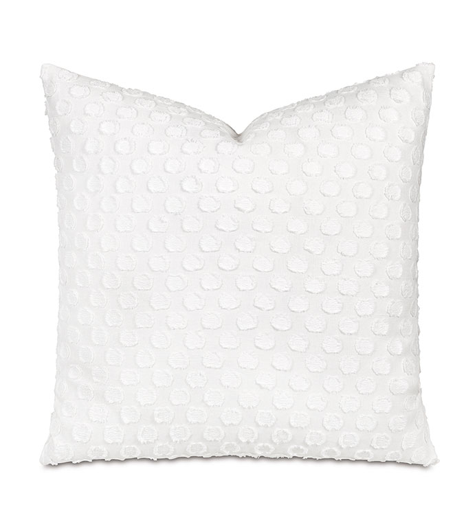 Lilla Polkadot Decorative Pillow In White - POLKA DOT,DOTTED,FRILLY,CUT THREAD,CUT EMBROIDERY,EMBROIDERED,WOVEN,TEXTURED,WHITE,PATTERNED,PILLOW,THROW PILLOW,DECORATIVE PILLOW,ACCENT PILLOW,SQUARE,22X22,GIRLY,CUTE,SWEET,BOHO,