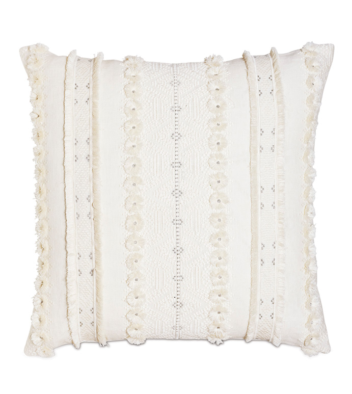 Justina Fringe Decorative Pillow In Ivory - BOHO,BOHEMIAN,TEXTURED,HYGGE,ECLECTIC,COZY,FRINGE,FRILLY,EMBROIDERED,SILVER,METALLIC,EXOTIC,GLOBAL,ETHNIC,MACRAME,CUT-THREAD,WOVEN,LINEN,COTTON,PILLOW,THROW PILLOW,EASTERN ACCENTS,