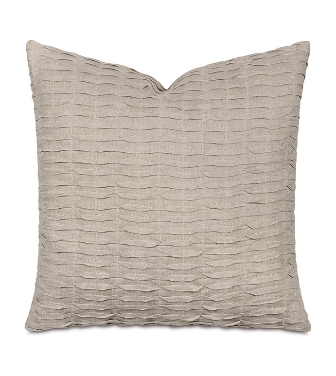 Yearling Pleated Decorative Pillow In Flax - LINEN,NEUTRAL,TAUPE,FLAX,TEXTURED,COZY,PLEATED,PLEATS,REVERSIBLE,BOTH SIDES,PILLOW,THROW PILLOW,DECORATIVE PILLOW,ACCENT PILLOW,KNIFE EDGE,LUXURY,DESIGNER,EASTERN ACCENTS,
