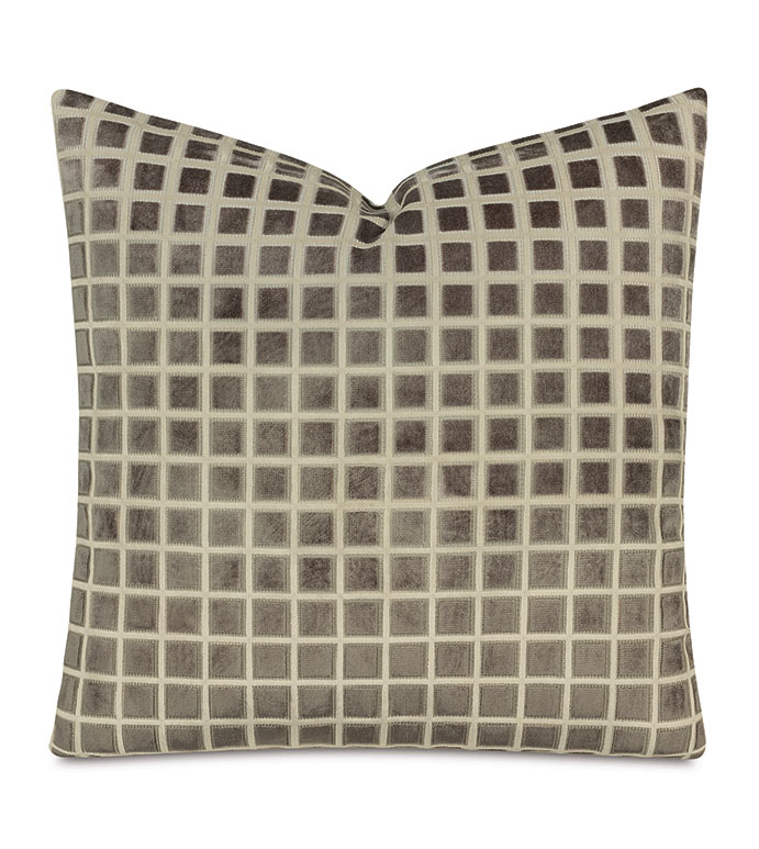 Stamp Cut Velvet Decorative Pillow In Stone - decorative pillow,accent pillow,throw pillow,pillow,velvet,gray,cut velvet,geometric,geometric velvet pillow,geometric pattern,textured,gray velvet pillow,gray geometric pillow