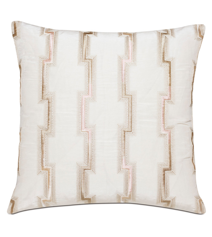 Fortune Ombre Embroidery Decorative Pillow - ,22X22 PILLOW,EMBROIDERED PILLOW,GEOMETRIC EMBROIDERY,OMBRE EMBROIDERY,LUXURY PILLOW,GEOMETRIC EMBROIDERY,GEOMETRIC PILLOW,CREAM PILLOW,BLUSH PILLOW,